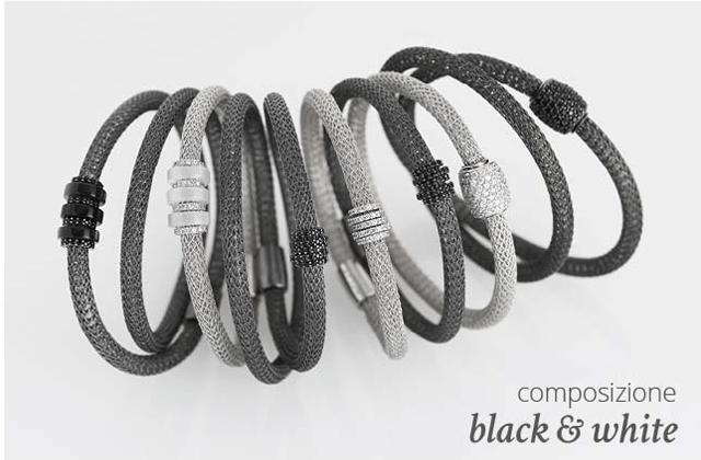 Collezione LOL Bracciali Argento Composizione Black & White | ECLAT Preziosi