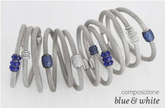 Collezione LOL Bracciali Argento Composizione Blue & White | ECLAT Preziosi